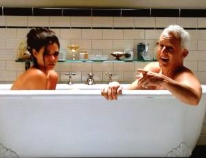 mad men jane roger bathtub wine