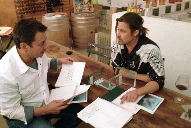 Brad Pitt With A Wine Glass In Hand