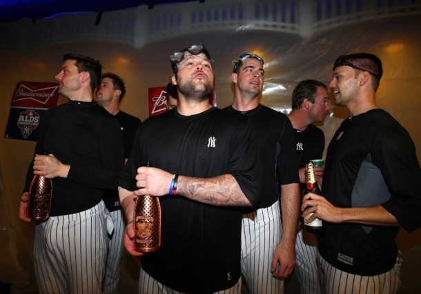yankees champagne celebration beau joie