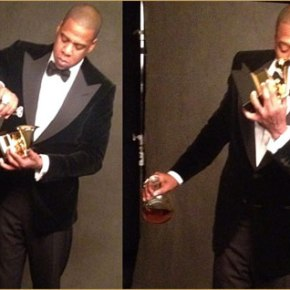 what was jay-z drinking in his grammyseat?