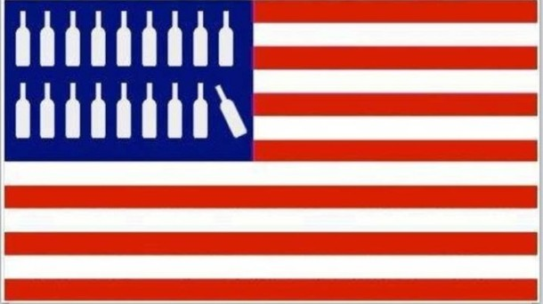 wine botte american flag