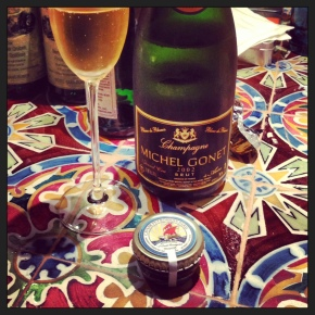 riesling, champagne, caviar: dinner didn'tsuck