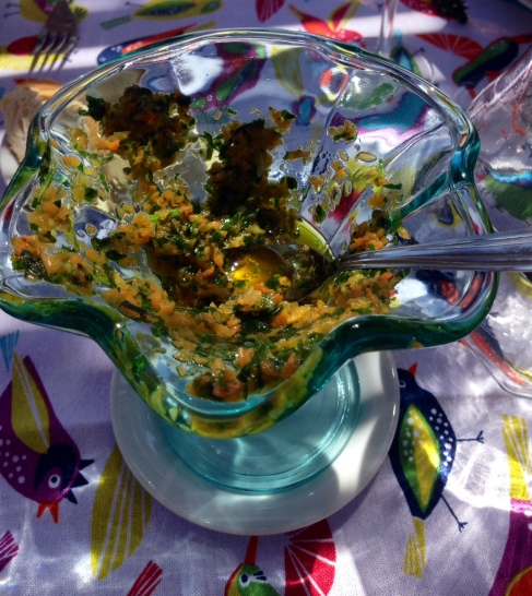 yummy carrot chimichurri for the trout