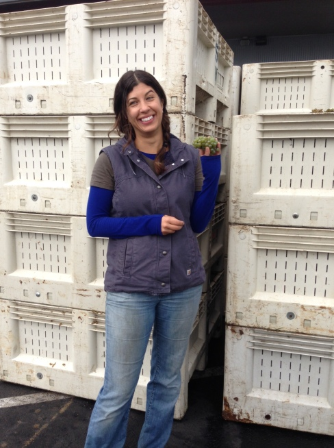 Melissa showing off her Riesling, which was delicious to eat just on its own