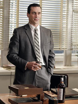 "MAD MEN: Don Draper: [Holding up an empty bottle] ""Why is this empty?""  Allison: ""Because you drink it all."""