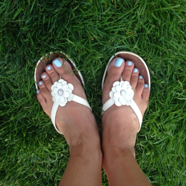 cute Coach flip flops - the only white shoes I own!