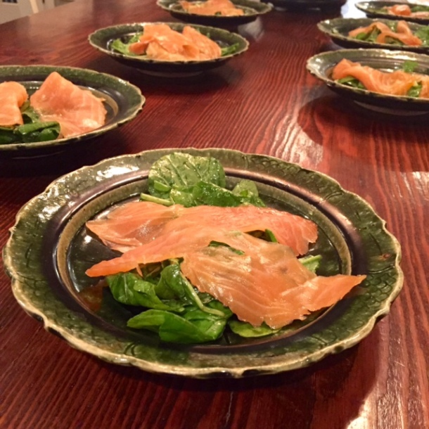 smoked salmon on arugula