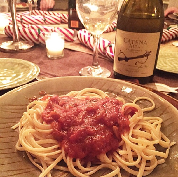 THE STAR OF THE NIGHT! Linguini with my mom's homemade lobster sauce.