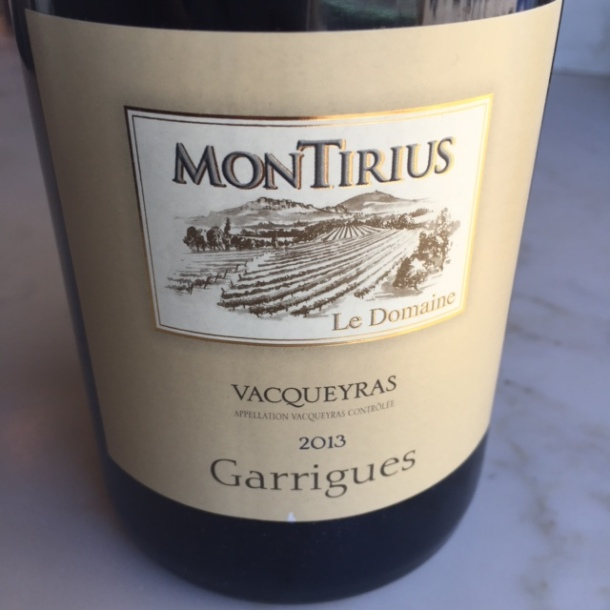 Montirius Garrigues Vacqueyras 2013 - meat, tarragon, grass and brown dirt with a lot more tannins. $18