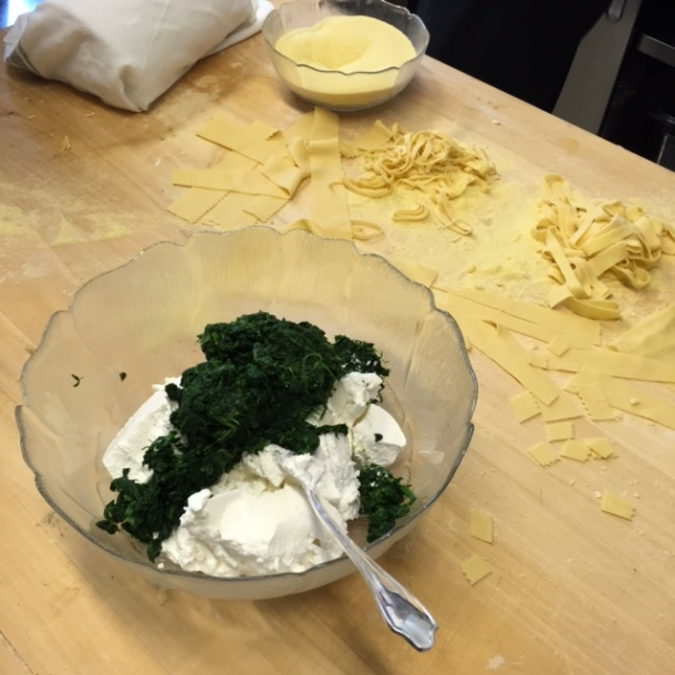 mix ricotta and spinach for the filling